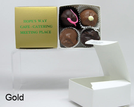 gold square personalized favor box with chocolates