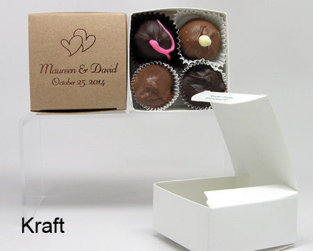 kraft square personalized favor box with chocolates