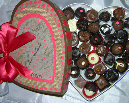 chocolate filled kraft heart box