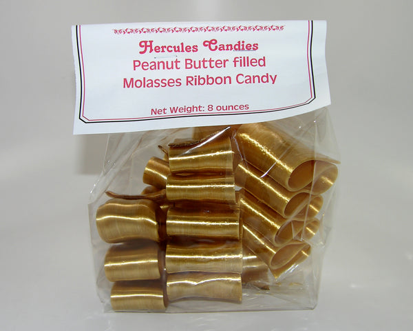 Molasses ribbon candy, peanut butter filled, 8 ounce bag