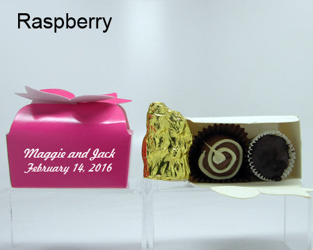 raspberry bow top favor box personalized