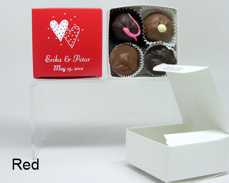 red square personalized favor box with chocolates