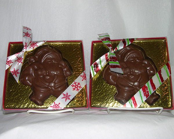 chocolate santa in a gift box