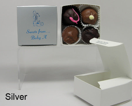 silver square personalized favor box with chocolates