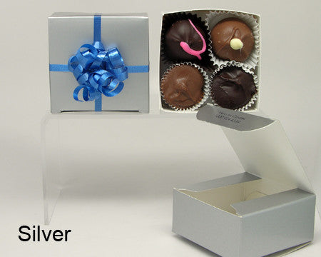 silver plain favor box