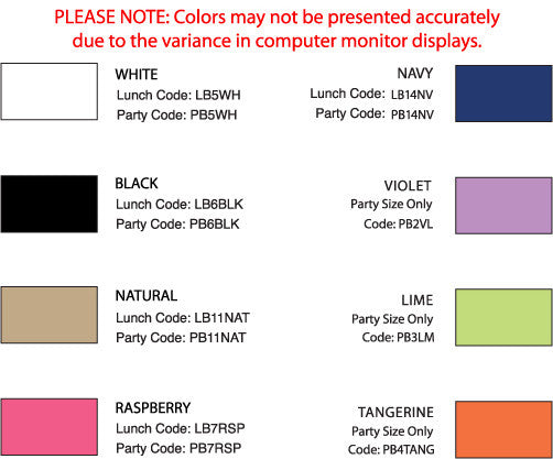 small personalized Lunch bag color chart
