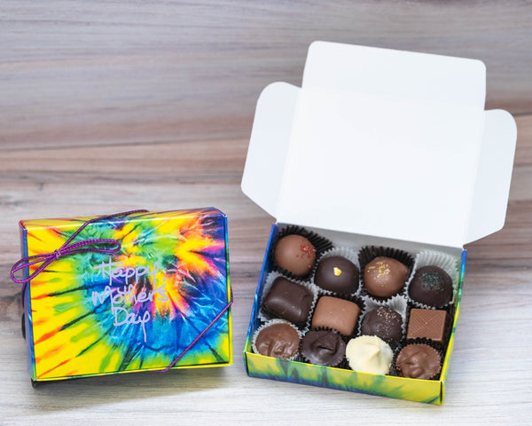 Happy mother's day assorted chocolates in a tie dyed box