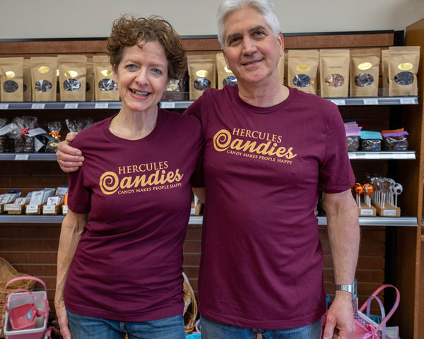Hercules Candy maroon logo t shirt, modeled by Terry and Steve