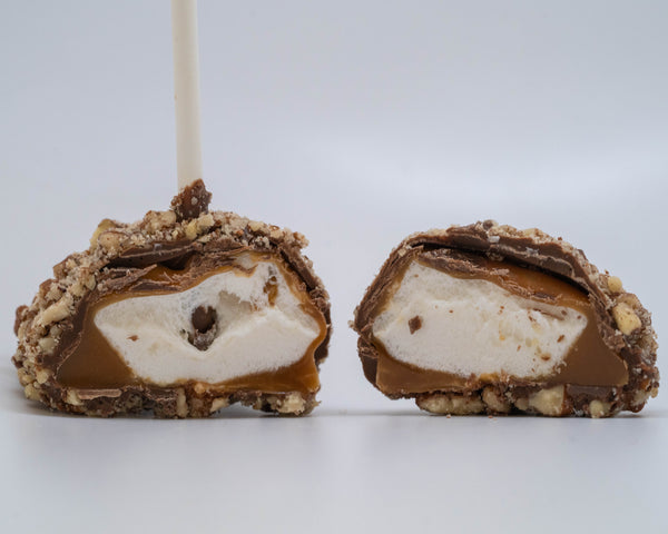 chocolate and caramel covered marshmallow rolled in pecans