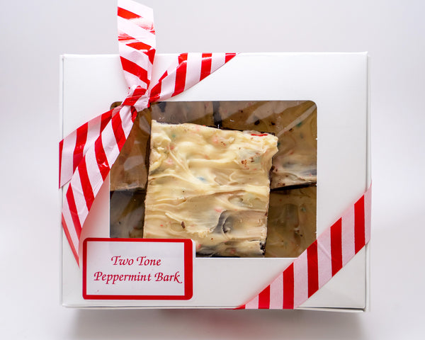 Two tone peppermint bark box