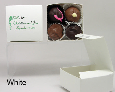 white square personalized favor box with chocolates
