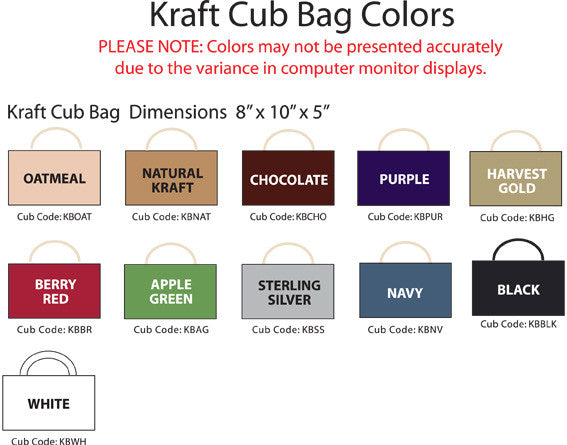 kraft cub bag color choices