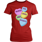 Nurse - Candy Hearts - District Made Womens Shirt / Red / S - 2