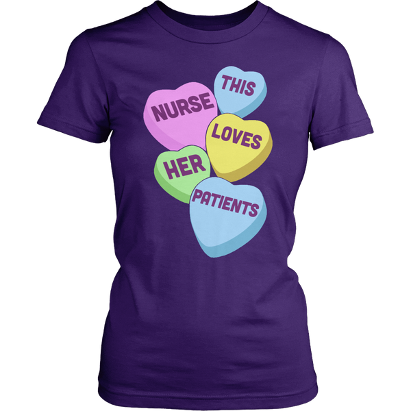 Nurse - Candy Hearts - District Made Womens Shirt / Purple / S - 1