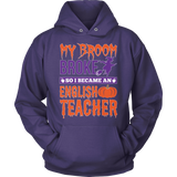 English - My Broom Broke - Hoodie / Purple / S - 12