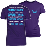 First Grade - Engage Minds - District Made Womens Shirt / Purple / S - 3