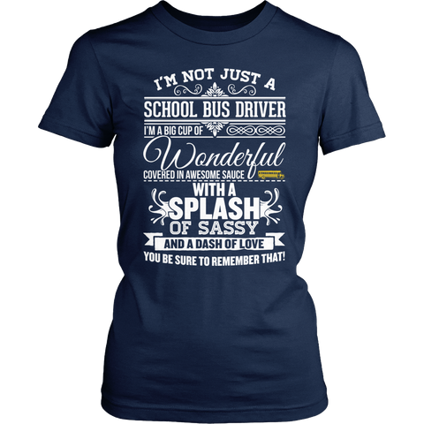 School Bus Driver - Big Cup - District Made Womens Shirt / Navy / S - 1