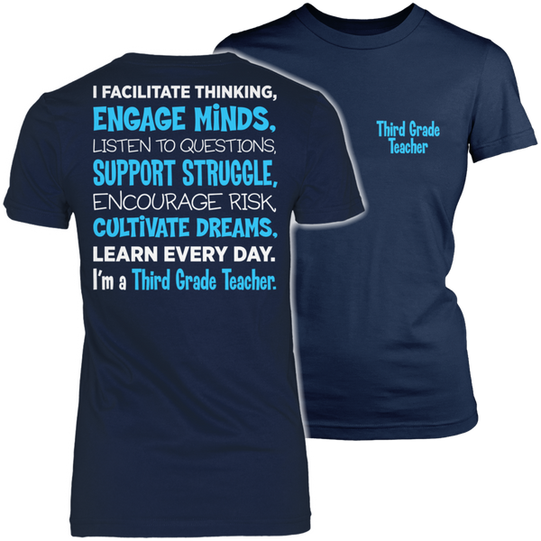 Third Grade - Engage Minds - District Made Womens Shirt / Navy / S - 1