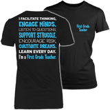 First Grade - Engage Minds - District Made Womens Shirt / Black / S - 2