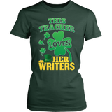 English - St. Patrick's Writers - District Made Womens Shirt / Forest Green / S - 4
