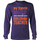English - My Broom Broke - District Long Sleeve / Purple / S - 9
