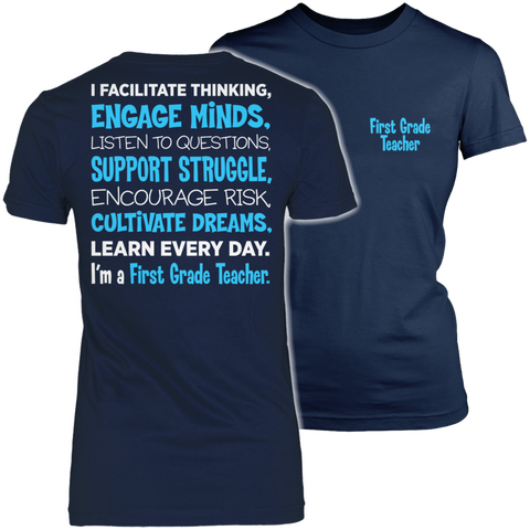 First Grade - Engage Minds - District Made Womens Shirt / Navy / S - 1