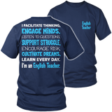 English - Engage Minds - District Unisex Shirt / Navy / S - 5