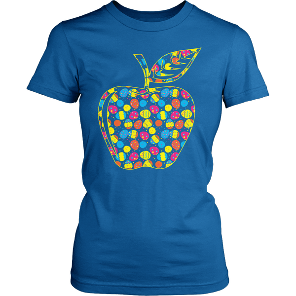 Teacher - Easter Apple - District Made Womens Shirt / Royal / S - 1