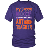 Art - My Broom Broke - District Unisex Shirt / Purple / S - 6