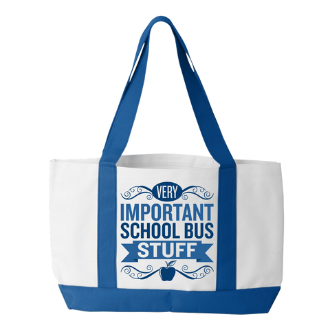 School Bus Driver - Important Stuff - White / Royal - 1
