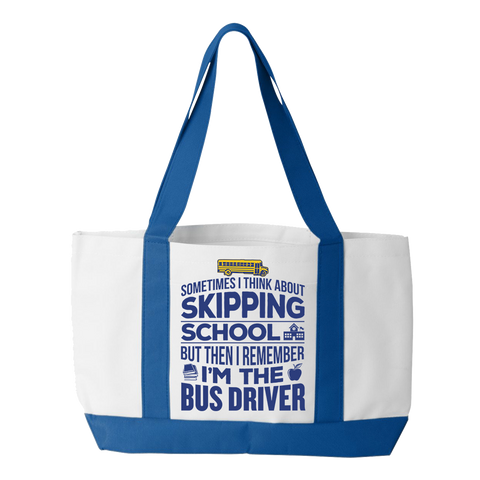 School Bus Driver - Skipping - White / Royal - 1