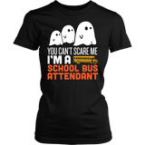 School Bus Attendant - Halloween Ghost - District Made Womens Shirt / Black / S - 1