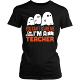 Teacher - Halloween Ghost - District Made Womens Shirt / Black / S - 1