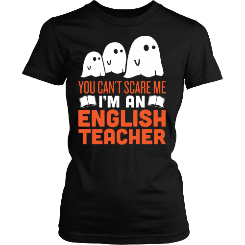 English - Halloween Ghost - District Made Womens Shirt / Black / S - 1