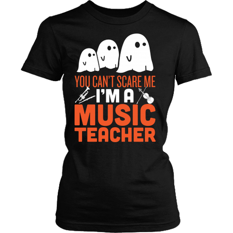 Music - Halloween Ghost - District Made Womens Shirt / Black / S - 1