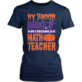 Math - My Broom Broke - District Made Womens Shirt / Navy / S - 2