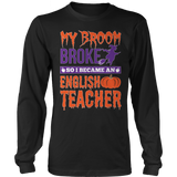 English - My Broom Broke - District Long Sleeve / Black / S - 7