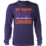 Librarian - My Broom Broke - District Long Sleeve / Purple / S - 9