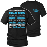 First Grade - Engage Minds - District Unisex Shirt / Black / S - 6
