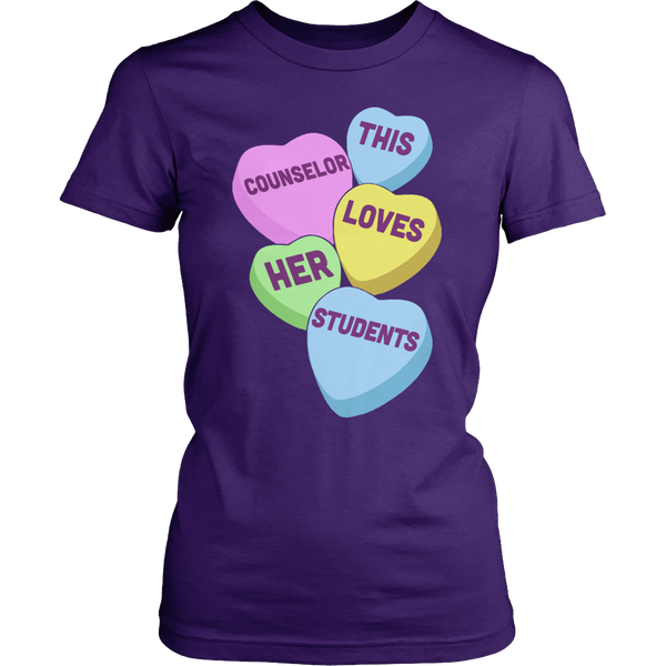 Counselor - Candy Hearts - District Made Womens Shirt / Purple / S - 1