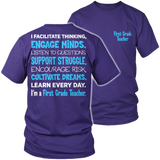 First Grade - Engage Minds - District Unisex Shirt / Purple / S - 7
