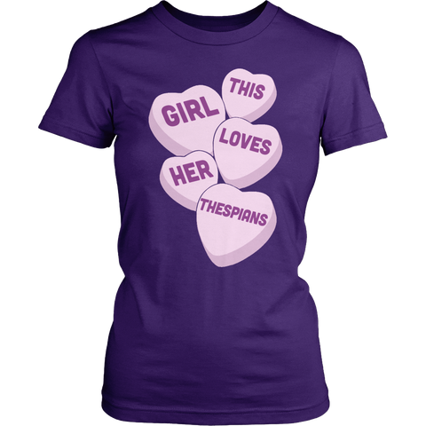 Theater - Candy Hearts - District Made Womens Shirt / Purple / S - 1