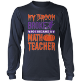 Math - My Broom Broke - District Long Sleeve / Navy / S - 8