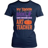 Art - My Broom Broke - District Made Womens Shirt / Navy / S - 2