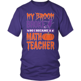 Math - My Broom Broke - District Unisex Shirt / Purple / S - 6