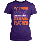 Science - My Broom Broke - District Made Womens Shirt / Purple / S - 3