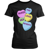 Nurse - Candy Hearts - District Made Womens Shirt / Black / S - 3