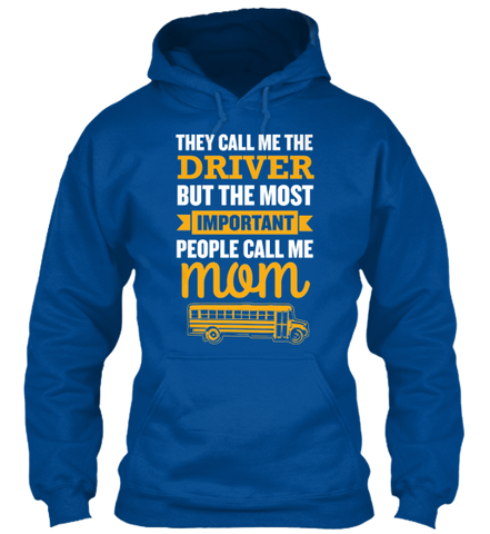 School Bus Driver Mom - Gildan 8oz Heavy Blend Hoodie / Royal / S - 13