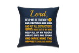 School Bus Driver Prayer Throw Pillow - Navy - 2