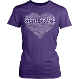 Sixth Grade - Heart - District Made Womens Shirt / Purple / S - 12